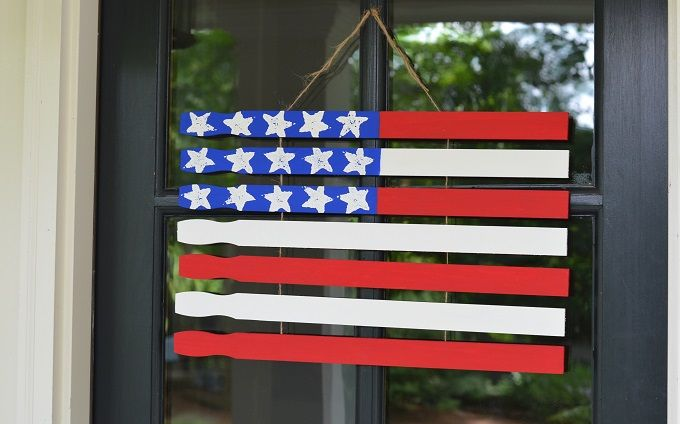 Gather The Kidoodles And A Bundle Of Paint Stirrers To Craft A Diy American Flag Door Hanger