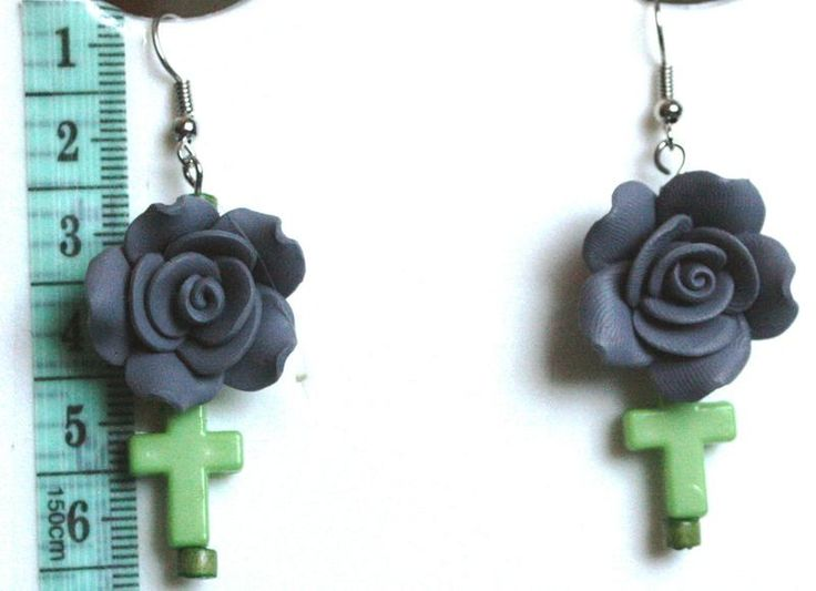 Zwarte Bloem Oorbellen MWL Design Uniquearrings van Oorbellen MWL Design - Ohrringe MWL Design - Earrings MWL Design op DaWanda.com