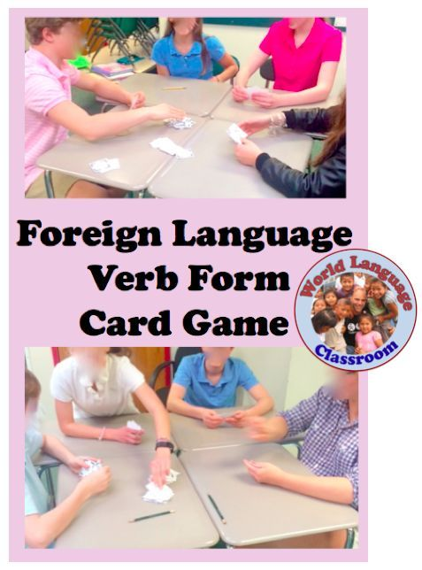 In this game players are dealt 5 cards to begin and place a card face up on the discard pile that is either the same verb (any form) or the same form (Je/Yo/Io/Ich, Tu/Tú/Tu/Du, etc.-any verb) as t...