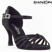Scarpa da ballo 5 fasce con nodino in raso nero tacco 7,5 cm
