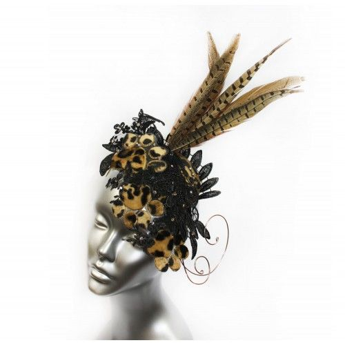Leopard Fascinator #accessories #fashion #headpiece #fascinator #hat #headdress #hairstyle #party #elegant #crystal #glamour #chic #millinery #feathers #fantasy #derbyhats #hats #leopard #swarovski #elegant #collection #fairy #look