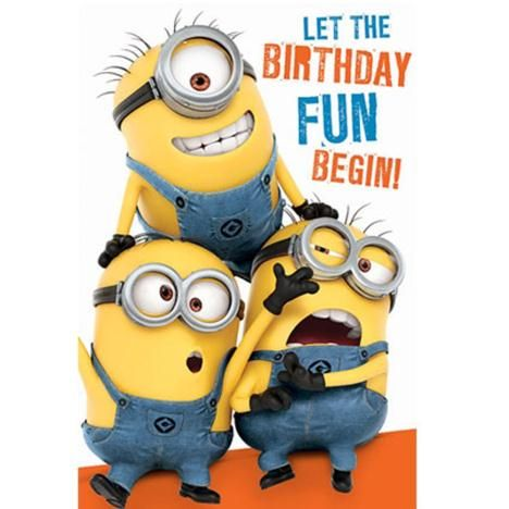 Lively image with minion birthday cards printable