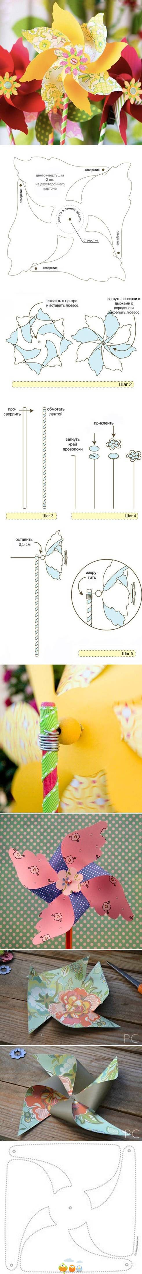 DIY Double Pinwheel - Visual step-by-step only, unless you can read this language. But it's sort-of self explanatory.