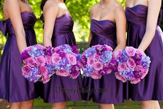 Sweetheart Neckline Satin Ruched Short Purple Bridesmaid Dress - Bridesmaid Dresses - Weddings