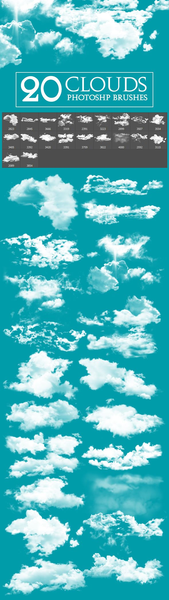 20 Cloud Brushes for Photoshop