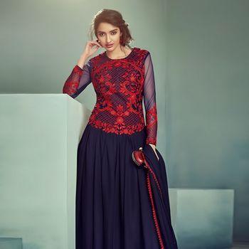 Black Red Party Wear Marble Chiffon Salwar Kameez