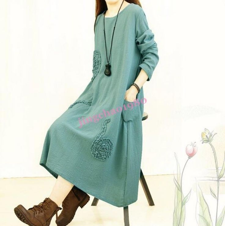 Ji Womens Ethnic Trends Loose Vintage Spring Long Cotton Linen Maxi Shirt Dress