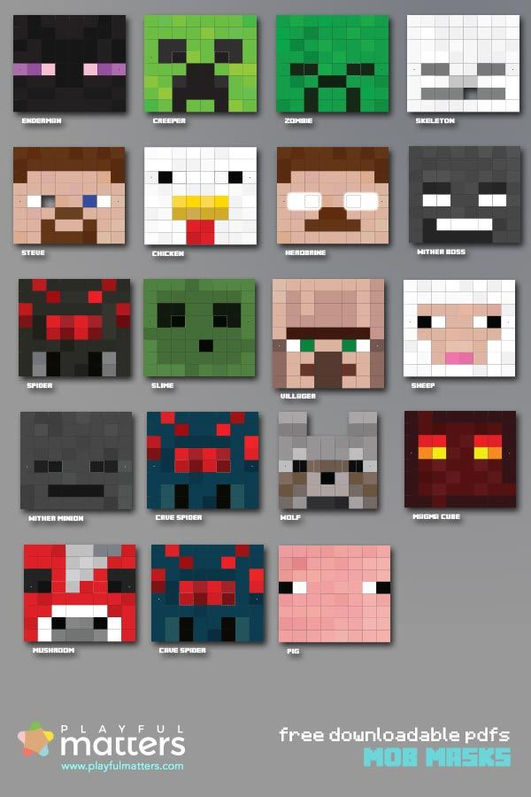 If you are having a #minecraft #party download these mob #masks. 19 to choose from:#Enderman, #Zombie, #Herobrine, #Steve, #Spider and more...adding the 8inx8in canvas versions very soon. Subscribe to my newsletter to let you know.