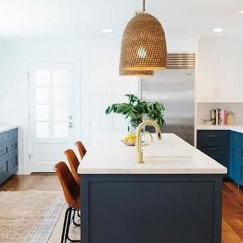 Navy Blue Kitchen Island with Calacatta Marble Countertop, Transitional, Kitchen, Benjamin Moore Hale Navy