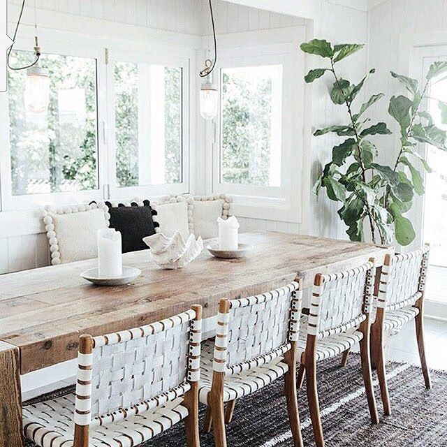 This dining room by @thegrovebyronbay is just  This would be a heavenly vacay spot  ahhhhh! Anyways back to my point. We have a look for less of those chairs on the blog this morning! And Im thinking theyd look right at home in my dining room. Pics of my dining room as it is right now is over on the @Kirklands account. What do you guys think? Would they work? Time to start working on the dining room  #CopyCatChic