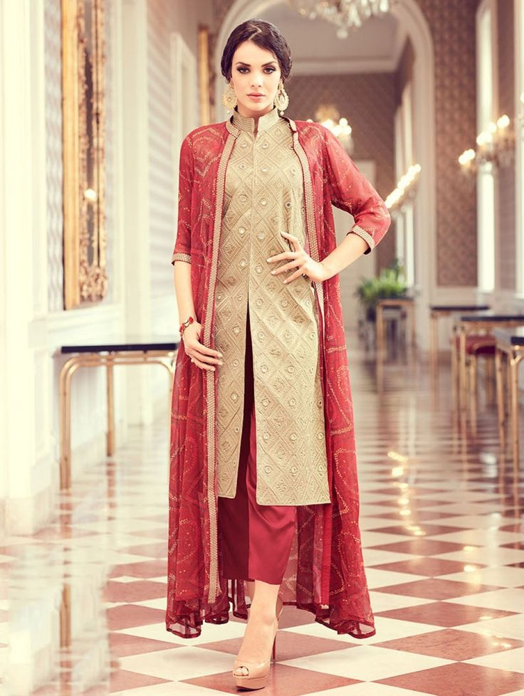 Beige Satin Georgette Suit witth Embroidery Work