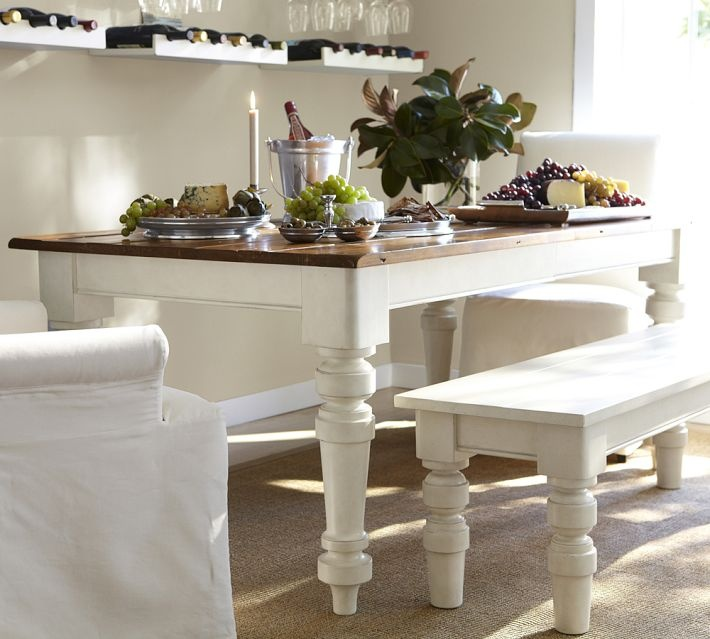 Pottery Barn Keaton Extending Dining Table French White