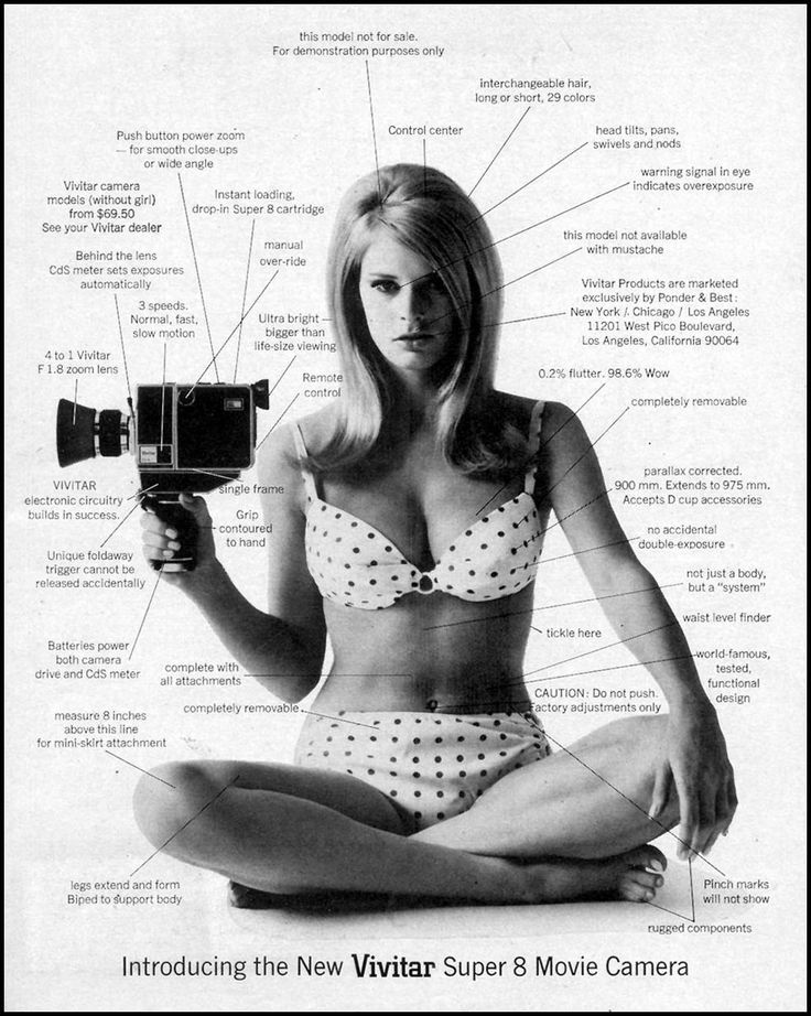 "Somehow ""0.2% flutter + 98.6% wow"" is mathematically sound in this sexist Vivitar Super 8 camera ad, 1967 (via Vintage-Ads LJ)"