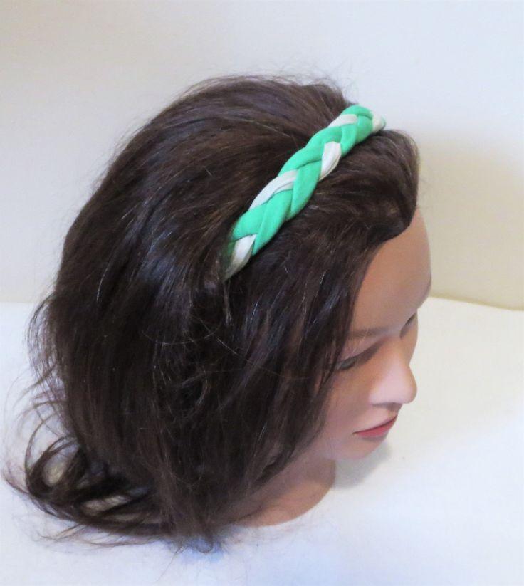 Braided Fabric Headband, Green and White Boho Hairband by TiStephani on Etsy