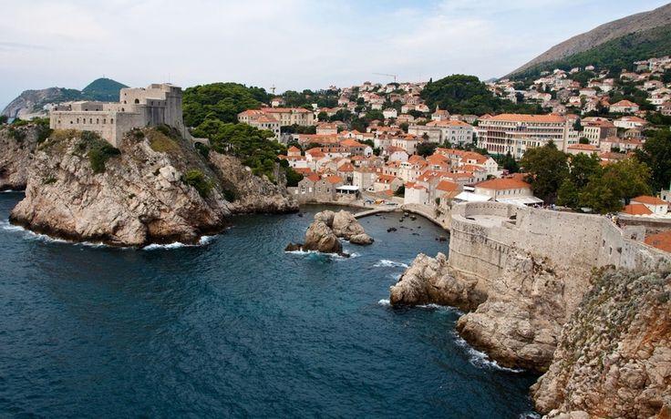 причал, дубровник, город, хорватия, море, крыши, бухта, дома, скалы