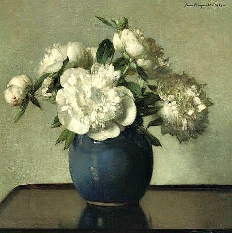 Jan Bogaerts White Peonies In A Blue Earthenware Vase