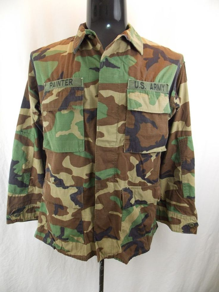 """US Army Hot Weather Coat Woodland BDU 807th Medic SSI """"Painter"""" Combat Jacket M #Unbranded"""