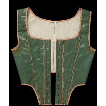 Victoria & Albert Museum: T.69-1935 -1790-95 (jumps) British, glazed green wool, pink trim, front lacing