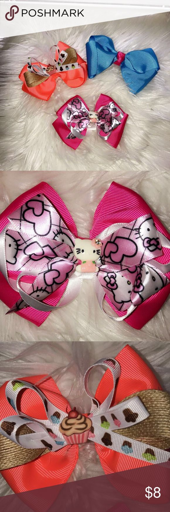Grosgrain 2.5 ribbon 🎀 homemade bows Grosgrain 2.5 ribbon with embellished set of three for $8 Other