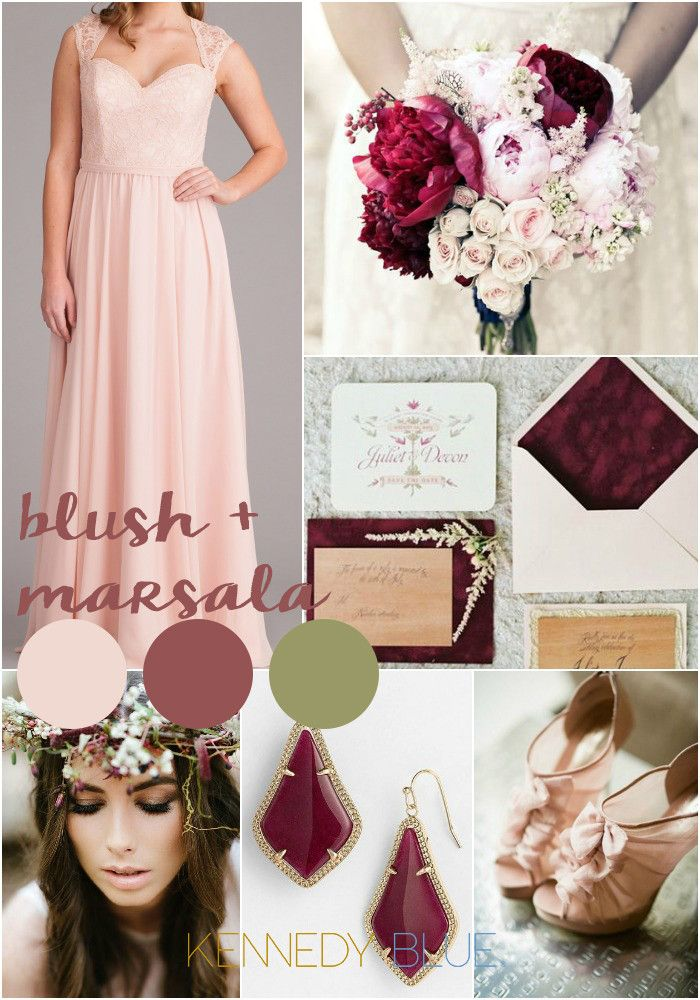 Use Blush pink and Marsala for a romantic, pink wedding color palette. | Pantone Wedding Colors for 2015