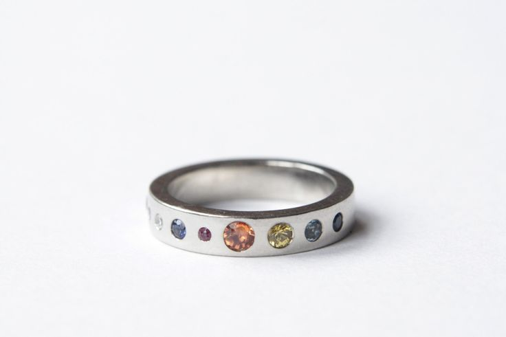 Planet Ring, Precious Stones, Silver or Gold, Eternity Ring, Handmade in Brighton, England. by RockCakes on Etsy https://www.etsy.com/listing/205698906/planet-ring-precious-stones-silver-or