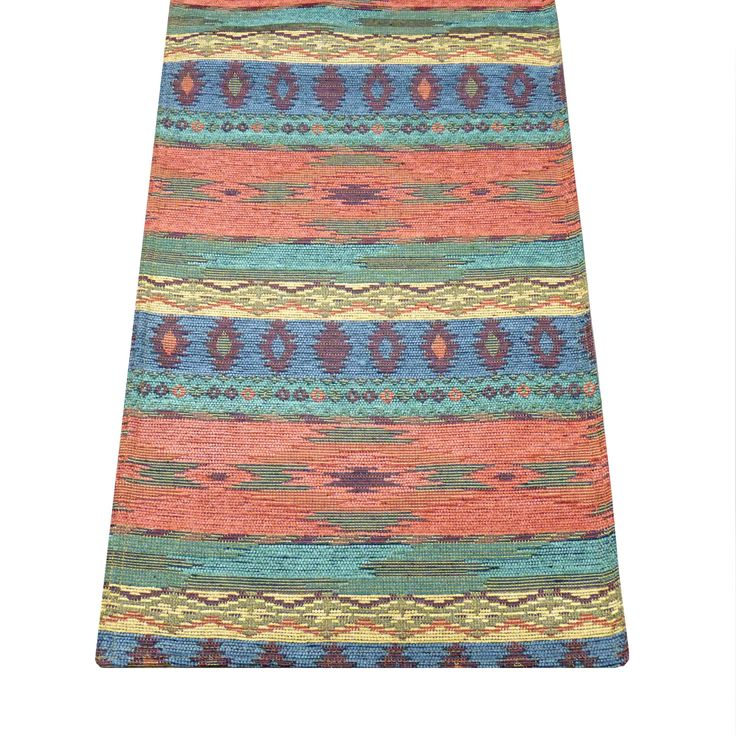 Southwest Phoenix Sunset table runners feature a traditional Santa Fe blanket pattern in shades of salmon, turquoise, sage and azure -perfect for a ranch or southwestern style decor! #native #desert