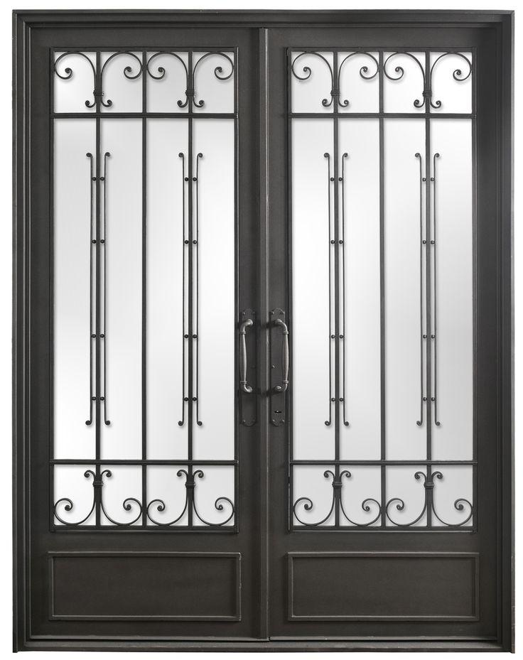 Puerta doble hoja de hierro forjado del hierro design for Modelos de puertas de hierro con vidrio