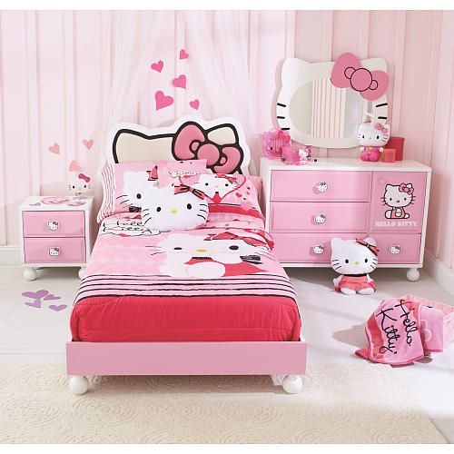 Hello Kitty 4-Piece Bedroom in a Box this is cute but I don't think I'd actually gwt this for chloe probably go with something more classic and simple pink and white ballerina or something but this is cute.