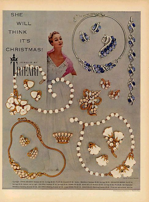 This 1953 Trifari jewelry ad demonstrates how women in this time loves wearing full jewelry sets including necklaces, earrings, and sometime bracelets.