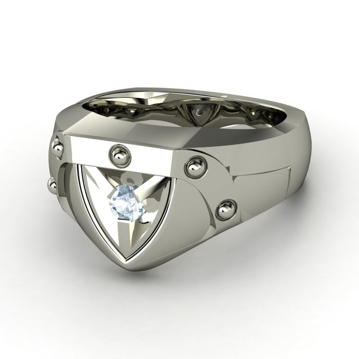Men's Palladium Ring with Black Diamond  | Shield Ring | Gemvara tyler