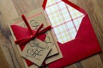 Rustic Wedding Invitation, Wood, Plaid & Red Velvet Wedding Invite, Rustic Wedding Invite, Calligraphy Invitation - SAMPLE SET - New