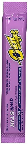 "Sqwincher ZERO Qwik Stik - Sugar Free Electrolyte Powdered Beverage Mix, Grape 060107-GR (Pack of 50) - Sqwincher Sugar free electrolyte powdered Beverage mix Qwik Stik. This perfect 10 has ""life on the go"" written all over it. GRAB your water bottle, pop the top on your tube, and add that Qwik Stik for an instant electrolyte replacement and hydration. When your tube is empty, don't trash it, refil..."