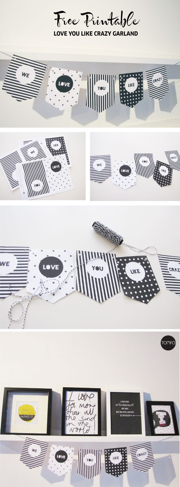 We love you like crazy....Free printable garland... so easy to make. Love this idea for a party... or to surprise someone you love.