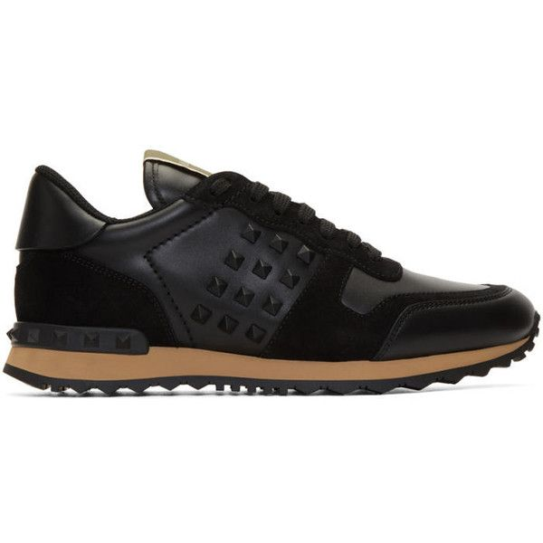 Valentino Black Rockstud Sneakers (33,500 DOP) ❤ liked on Polyvore featuring men's fashion, men's shoes, men's sneakers, black, valentino mens shoes, valentino mens sneakers, mens lace up shoes, mens black sneakers and mens black shoes