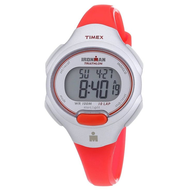 Timex T5K741 Women's Ironman Triathlon Sport 10 LAP Digital Grey Dial Orange Strap Chrono Watch