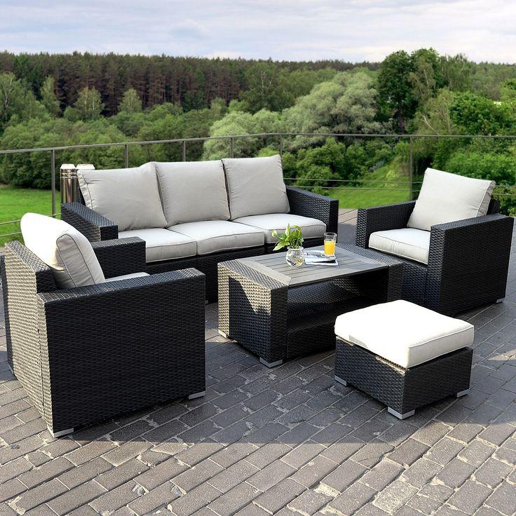 Lounge sofa outdoor holz  Die besten 25+ Rattan lounge set günstig Ideen auf Pinterest ...