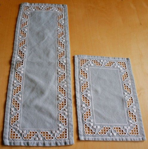 H10 Swedish Handmade Pair Hardanger Embroidery Lt Gray Runners White Pattern | eBay