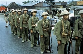 Haiphong. Communist troops waiting for the French troops to depart,, 1954-1955,, Vietnam - War in Indochina,, National Archives. Washington. Pin by Paolo Marzioli