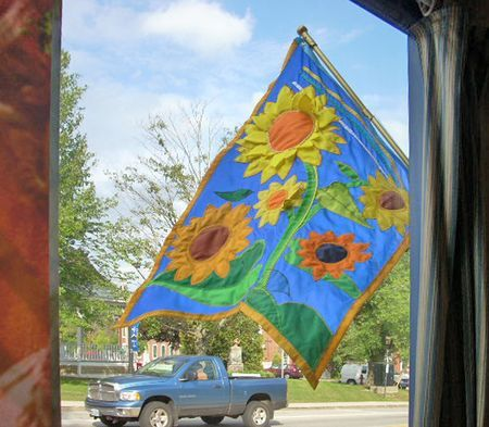 Sunflower flag couture for Sunflowers Restaurant by Holly Alderman