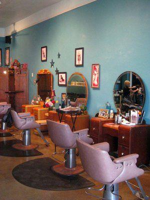 Love the old vanities they used!!!  retro salon decor