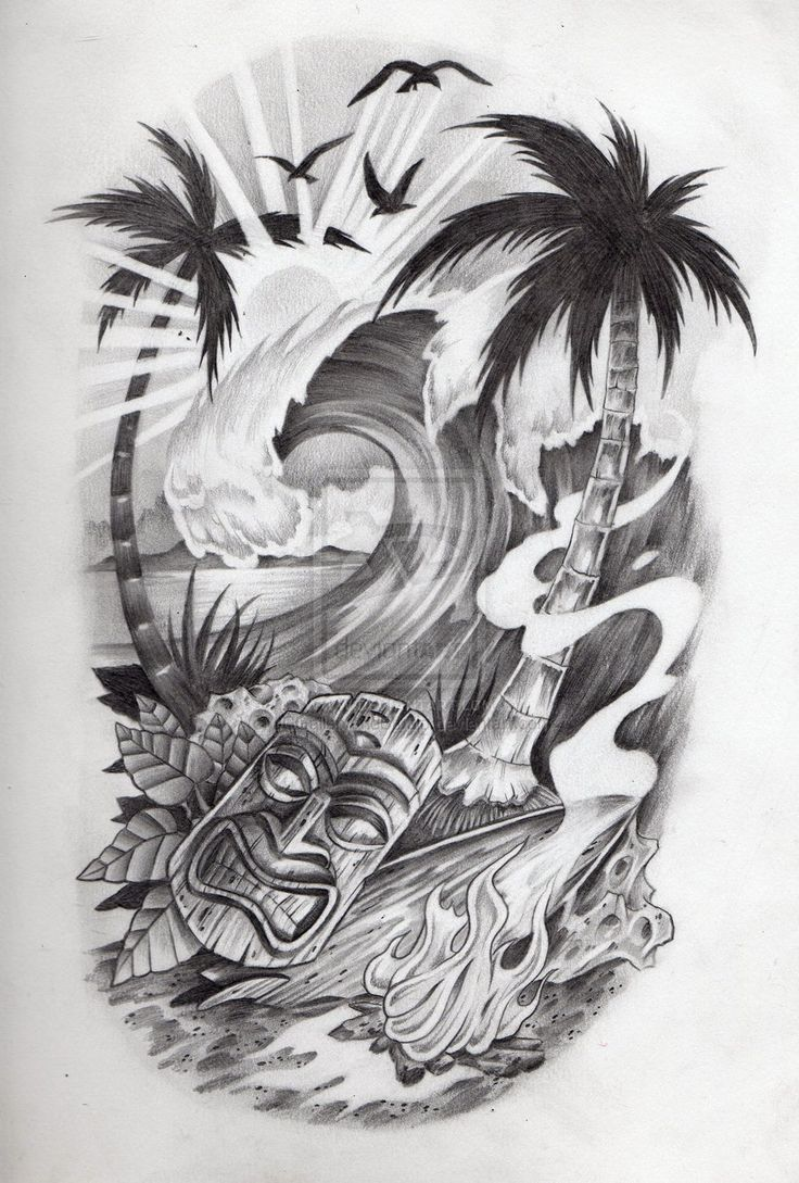 Tropical scene, tattoo by JCGalleryandStudio.deviantart.com on @DeviantArt