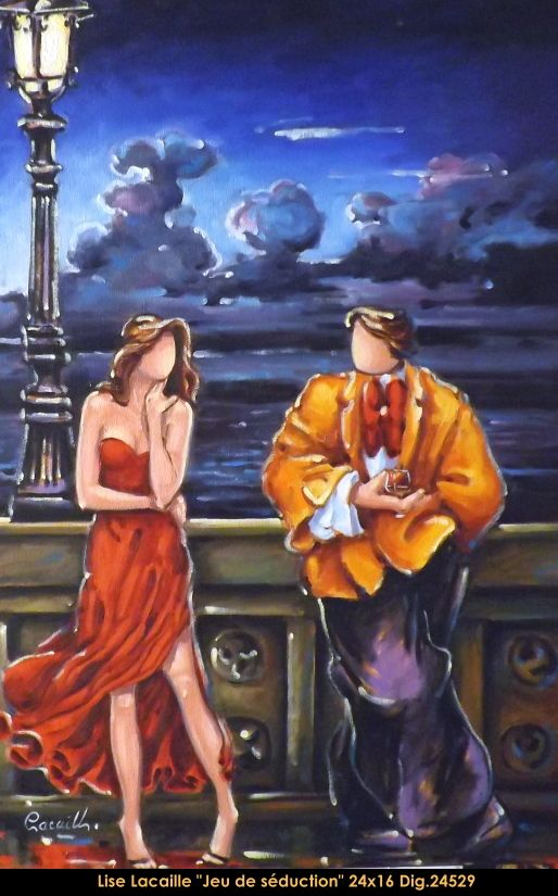 Lise Lacaille original oil painting on canvas #liselacaille #art #artist #canadianartist #quebecartist #fineart #figurativeart #originalpainting #oilpainting #CanadianArt #man #woman #night #multiartltee #balcondart