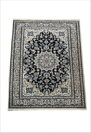 Buy beautiful embroidered Persian Naien 2 Rug Online   Traditional Persian Naien floral & medallion motif, lovely Indigo ground colour, intricately woven with fine wool / silk inlay.  #persian #nainrug #persianrugs #rugshop #melbourne #australia