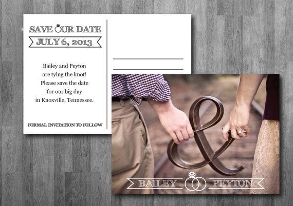 Wedding Rings Save the Date Postcard - Printable $15.00 via Etsy