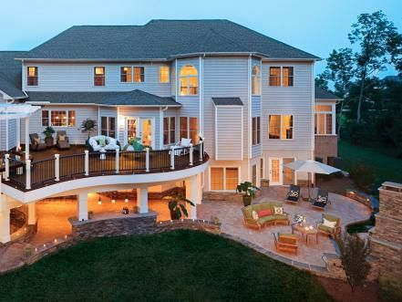 The+second+story+deck+overlooks+the+patio+in+the+backyard,+which+offers+a+grand+scene.+