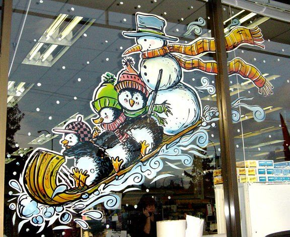 Snowman and penguins on sled window painting