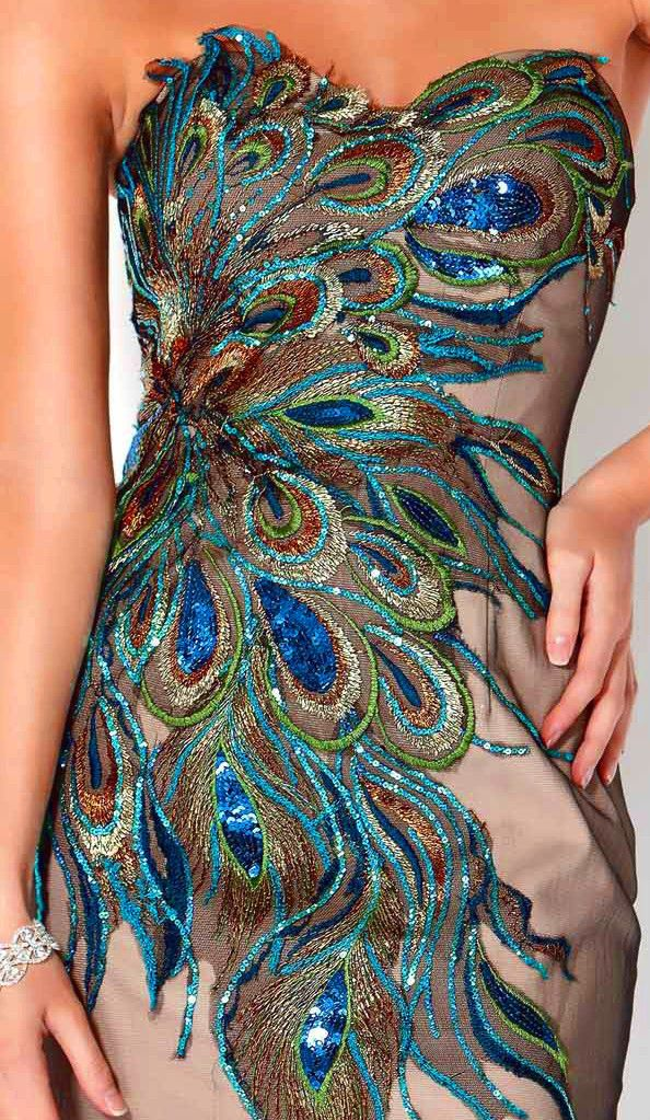 Beaded Peacock Feathers | art | Pinterest | Short dresses ...