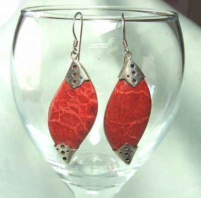925-Sterling-Silver-Red-Sponge-Coral-Earrings-8-6-grams-2-1-4-long
