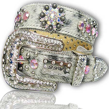 Image detail for -BHW Belts - Black & White Brindle Hair on Hide with Pink Rhinestones ...