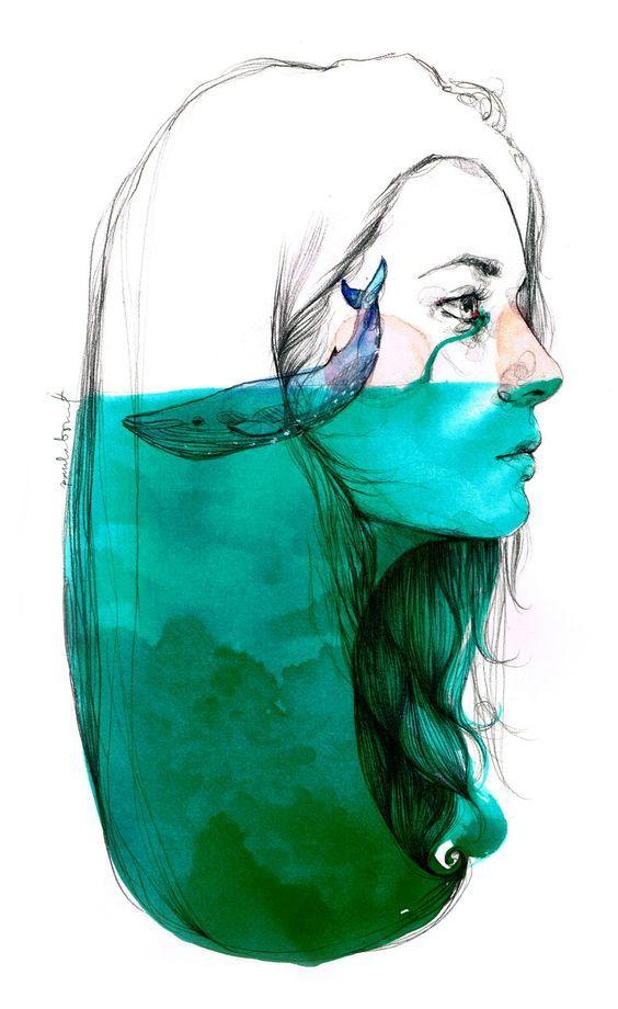 Dessin, visage femme et baleine. Inspiration Apartpublications: